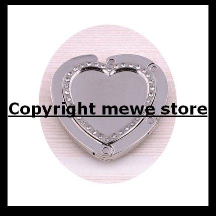 Silver Heart Shape Magnatic Foldable Purse Hook Hangers Blank No Design Bag Hanger Handbag Hook(China (Mainland))