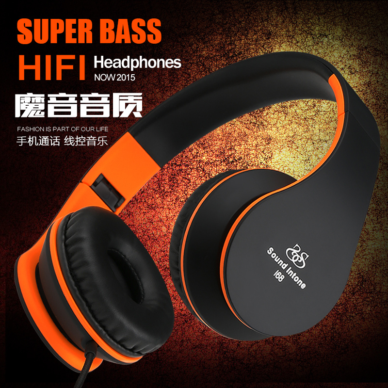 Sound I68 wired music headset with microphone bass stereo foldable headsets for mobile phone computer noise cancelling headphone(China (Mainland))