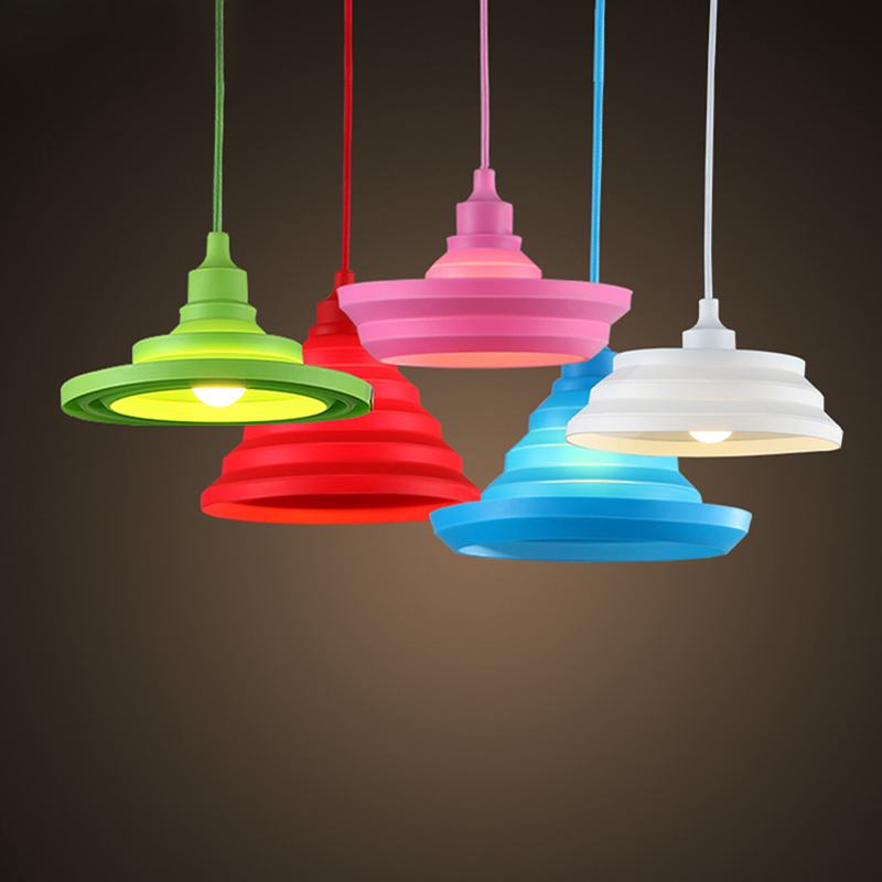 Modern Colorful Silicone Pendant Lights Collapsible/ Folding Pendant Lamps E27 Creative&Fashion Decoration lighting for Home/Bar(China (Mainland))