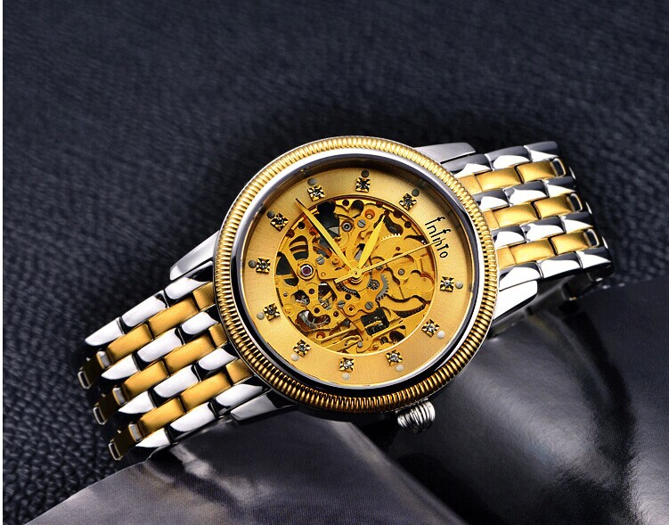 luxury brand real gold plated business dress watches