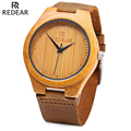 REDEAR Brand Simple Dial Unique Luxury Wood Watch Men Natural Bamboo Wooden Wristwatch Waterproof Clock Man