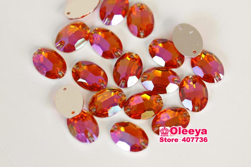 Resin oval orange AB flatback sew on rhinestones (3)