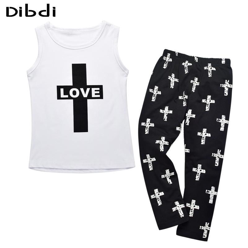 2016 Girl Clothing Set Summer Letter Children Clothing Kids Cotton T-shirt+Crossing Print Pants Boys Girls Clothes Sets CF438(China (Mainland))