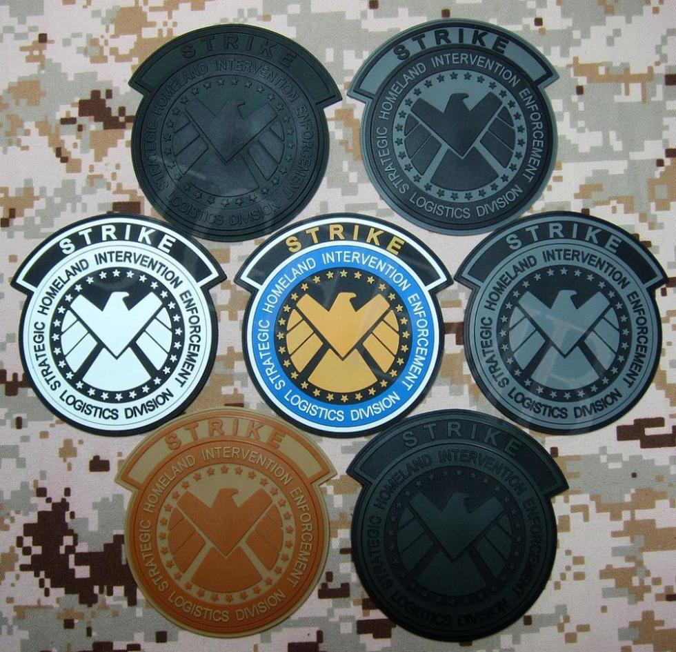 Captain America The Avengers S.H.I.E.L.D STRIKE corporation 3D PVC patch 10cm*10cm(China (Mainland))