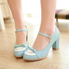 2015 Ladies Leather Platforms Lady Fashion Lolita font b Shoes b font Sexy Bow High Heel