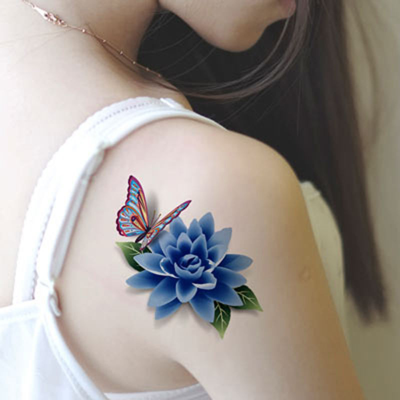 1pcs 3D Colorful DIY Flower Rose Stickers Tattoo Sleeve Women Waterproof Temporary Tattoos Body Art Fake Sex Products(China (Mainland))