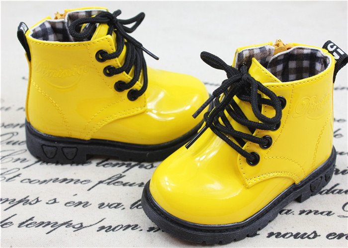 2014 children's boots children kids boys girls shoes bota yellow blue black leather baby - Red Style Trade Co. Ltd store