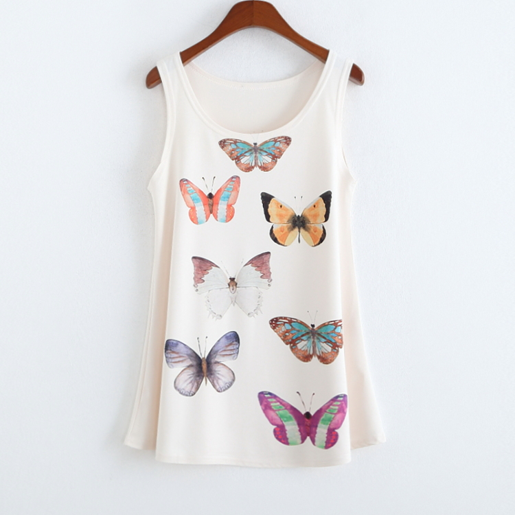 New Arrival Fashion Colorful Butterfly Printed Vest Women's Tanks Summer Sleeveless Sexy Ladies Tank Top Camisole For Women(China (Mainland))