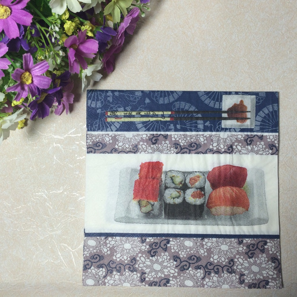 5 packs 100pcs multicolor Sushi Paper NapkinKids Bithday Party and Dinner and Wedding and Festive Decoration(China (Mainland))