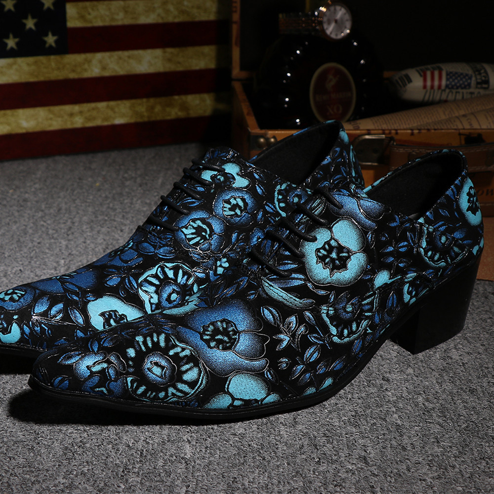 New Fashion Handmade Genuine Leather Shoes Oxford Men's Formal Wedding Party Dress Shoes Pointed Toe Blue Flower Man Heels Shoe(China (Mainland))