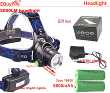 Ebuyfire phare phare Cree xm - l T6 led 2000LM rechargeable chef lampe + 2 x 8800 mah 18650 batterie + chargeur(China (Mainland))