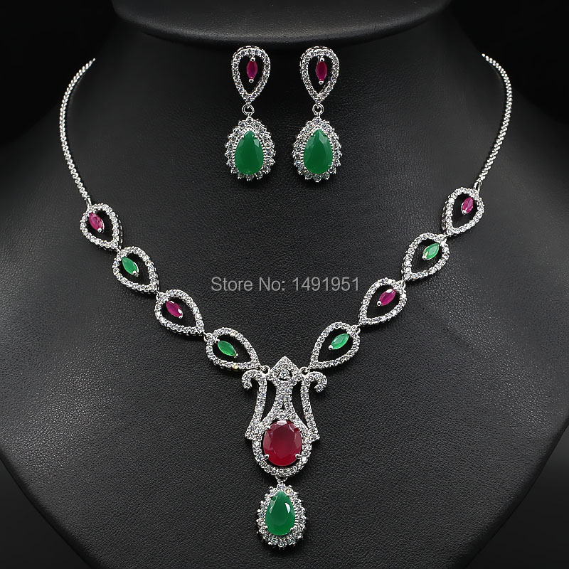(12 pieces/lot)Noble Jewelry sets platinum plating Ruby&amp;Emerald CZ water drop crown pendant necklace&amp;earrings fashion jinyao<br><br>Aliexpress