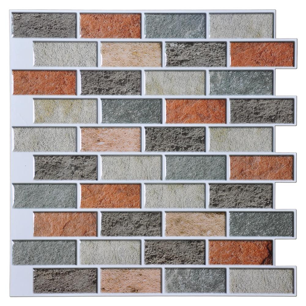 Adhesive tile backsplash