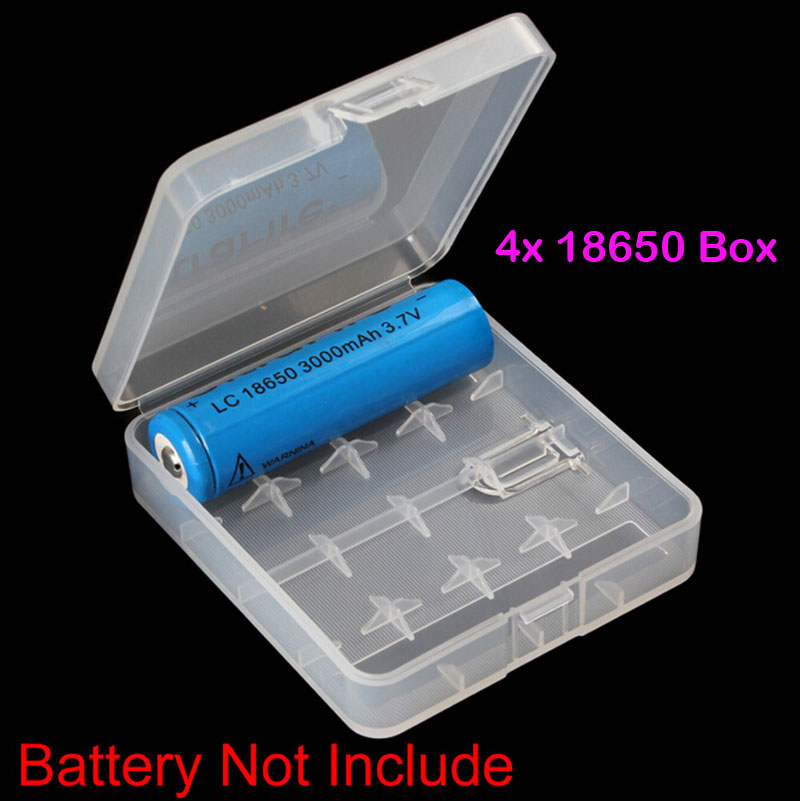 1PCS Hard Plastic Case Holder Transparent Clear Storage Box For 18650 16340 CR123A Rechargeable font b