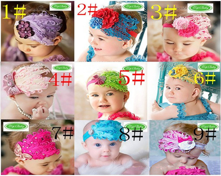 2014 New Promotion Floral Children Beautiful Feather Headband Hairband Baby Girls Headbands/' Hair Accessories Christmas Gift(China (Mainland))