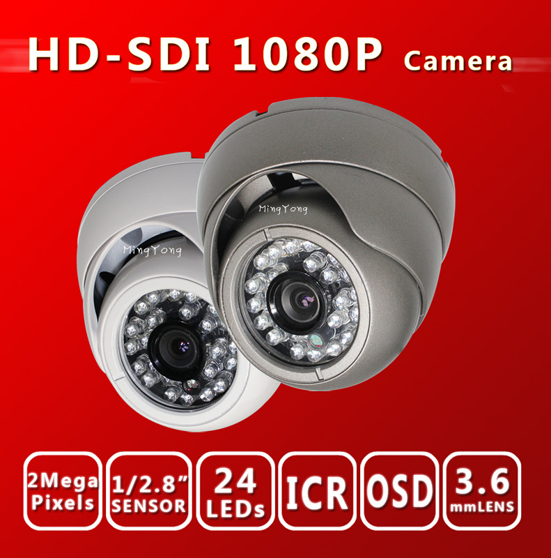 HD SDI camera 1080P 1/2.8''Sony Exmor Sensor digital security camera Indoor outdoor SDI cam 24IR 3.6MM HD-SDI dome cctv camera(China (Mainland))