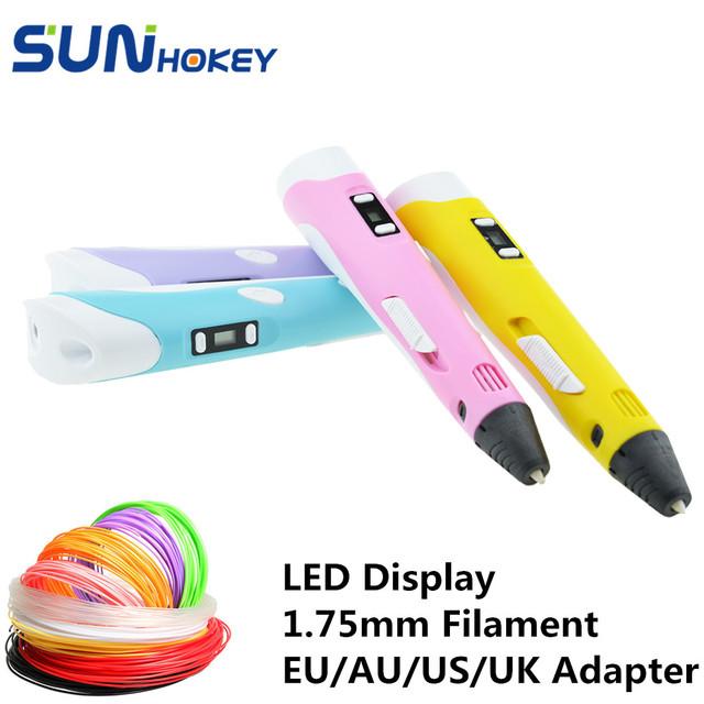 Новое Поступление Sunhokey Вс-Ручка 1.75 мм PLA ABS 3D Ручка 3D Печать Pen Адаптер Питания 30 М нити включены Рождество подарок На День Рождения