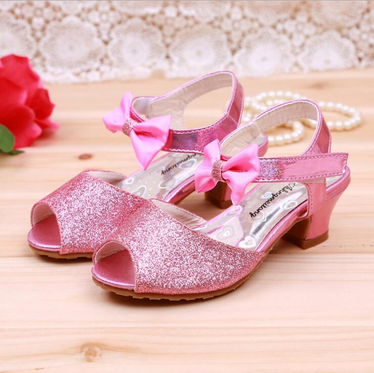 2016 New Shiny Pearls Kids Wedding Party Girls Shoe Summer Sandals Girls Princess Shoes Children High Heels .(China (Mainland))