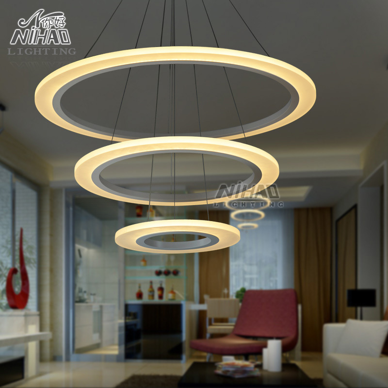 Chandeliers led light fixture circle lamp modern - Table a manger led ...