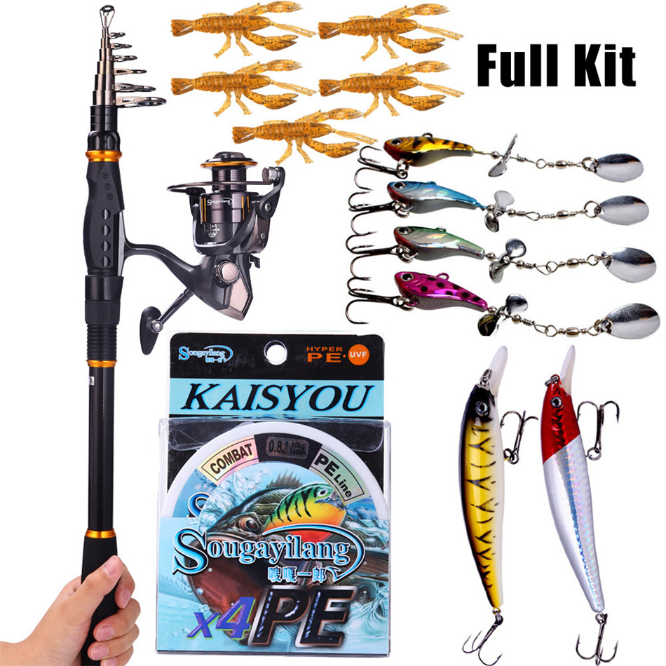 Sougayilang Fishing Rod Reel Combos Carbon Telescopic Fishing Pole with Fishing Reel Line Lures Combo Sea Fishing Rod Kit(China (Mainland))