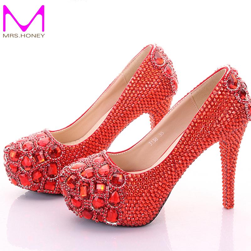 Фотография Crystal Wedding Shoes Diamond Platform High Heels Nightclub Stage Shoes Wedding Party Bridal Shoes Graduation Prom Shoes