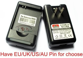 wholesale 5pcs/lot US UK EU AU USB Phone Battery Charger for Sam Galaxy S i9000 Desktop Wall Charger free shipping