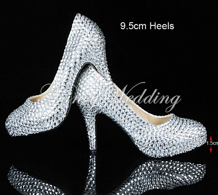 Beautiful 3 Inches Bridal High Heels Shoes Wedding Bridesmaid Shoes Rhinestone Party Shoes Evening Prom Dress Shoes