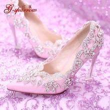Women's Pink Pointed Crystals Elegant Wedding Shoe Online High Quality Comfortable Dress Shoes High Heel Stiletto Platform Pumps(China (Mainland))