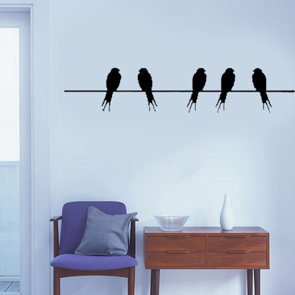 Birds on a wire cool wall stickers kids bedroom wall for Cool wall mural