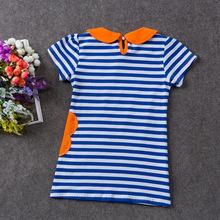 2016 Summer Fashion Girls Dress Stripe Dress for Children Girls 1 7y Cotton Flower Rabbit Embroidery