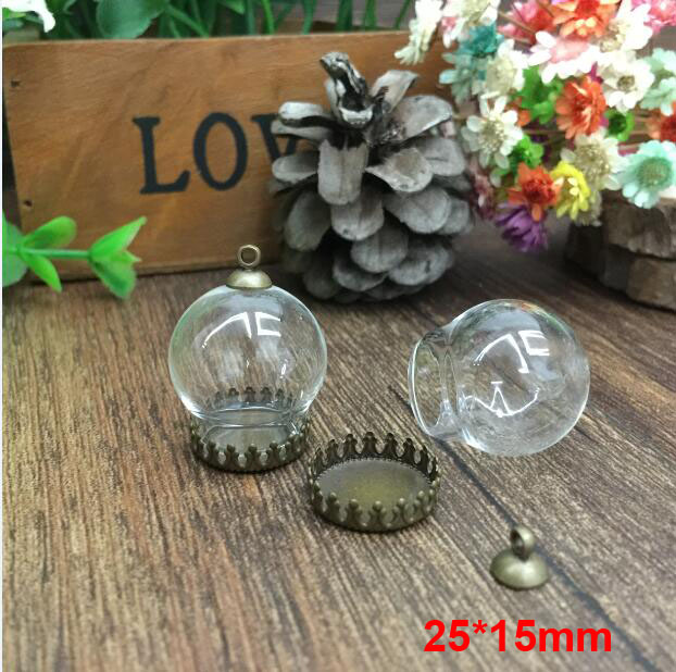 Free ship!!! 100sets/lot 25*15mm glass globe &amp; crown base &amp; cap finding set glass globe set glass vial pendant glass cover<br><br>Aliexpress
