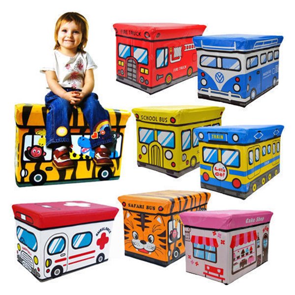 School Bus Style Children Folding Kids Storage Box Seat Pop Up Toy Chest (Random Color)(China (Mainland))