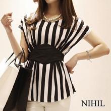 2015 Sleeveless Striped Print Chiffon Women Blouses Casual Tops For Women Blouse & Shirt Ladies Clothing  Plus Size Body