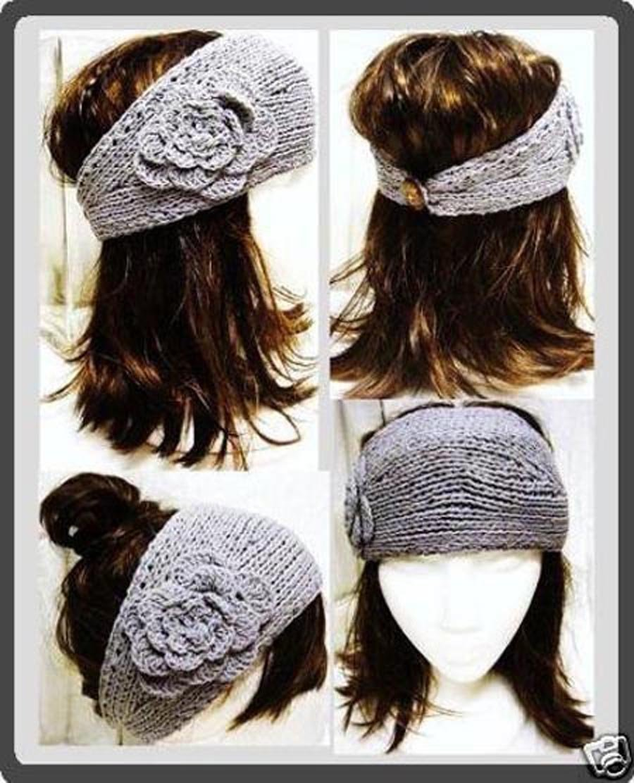 Knit Pattern Headband With Button Closure : Handmade knit winter Headband Flower headwrap ear band ...