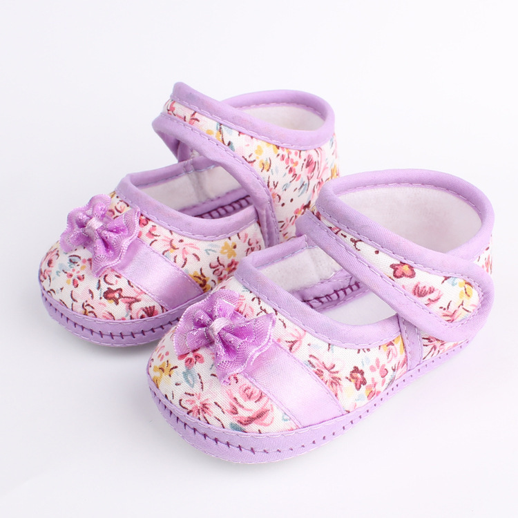 spring&autumn Girls flowers bow baby toddler shoes children footwear first walkers size 11cm 12cm 13cm(China (Mainland))