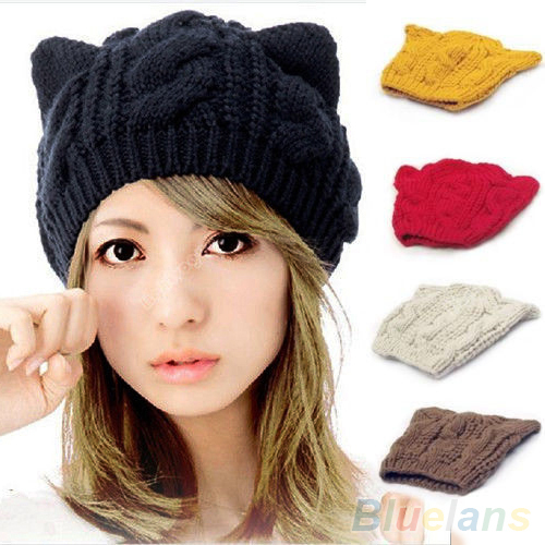 Women s Winter Knit Crochet Braided Cat Ears Beret Beanie Ski Knitted Hat Cap 1QEW 4BTT