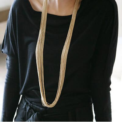 2015 Fashion Jewelry Gold Silver Chain Hematite Necklace Sweater Chain Long Multilayer Statement Tassel Necklace For Women Girl(China (Mainland))