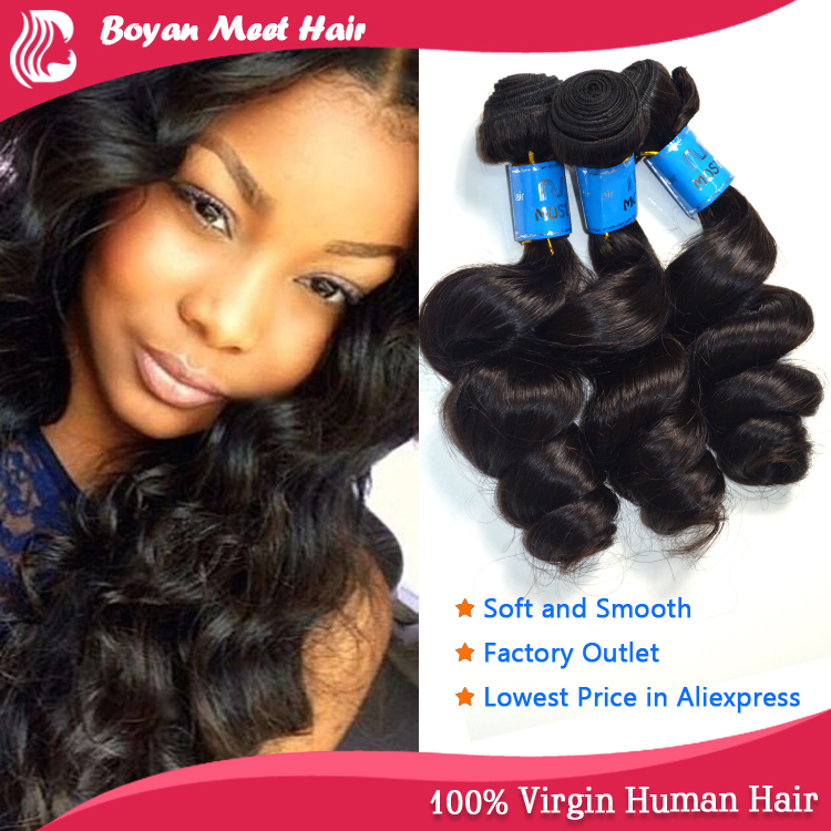 No chemical Steam processed queen hair products human hair natural virgin brazilian hair weavon(China (Mainland))