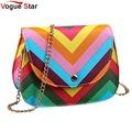 Vogue Star 2017 New Women Rainbow Color bag Ladies Rivet leather Crossbody Shoulder bag Party bags