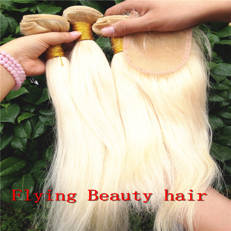 Stock Fast Shipping 6A Quality 3.5 inchx4 inch Virgin Peruvian Human Hair Lace Closure Color 613 Blonde Piece - Flying Beauty Products Co.,Ltd store