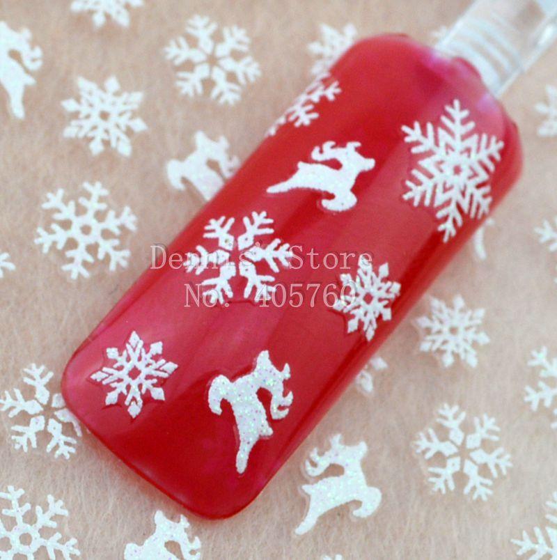 Wholesale 5 sheet/lot Cute Christmas White Glitter Snowflake Deer 3D Nail Art Sticker Phone Xmas DIY Decals TL18# Retail Package(China (Mainland))