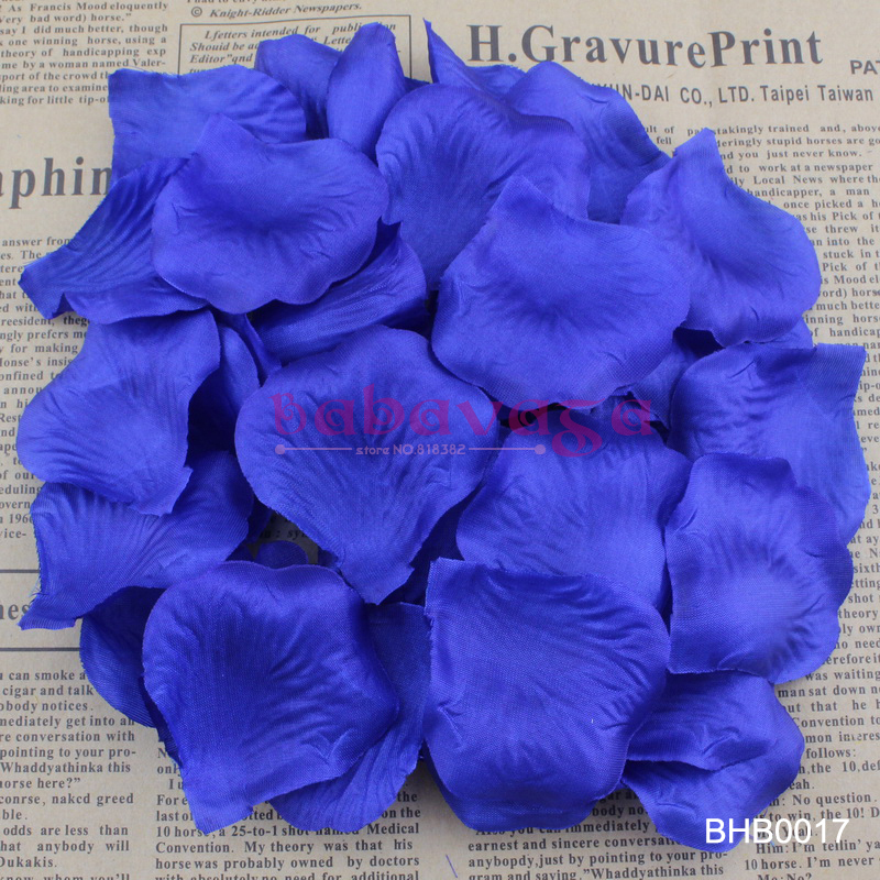 Royal Blue Sapphire Color Silk Flower Rose Petals Wedding Banquet Adornment Favor Table Decorations 40 Colors(China (Mainland))