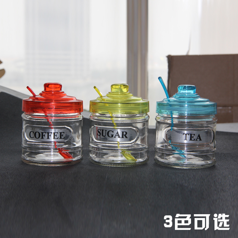 Sucrier Salt Coffee Canister Household Glass Multi Colored