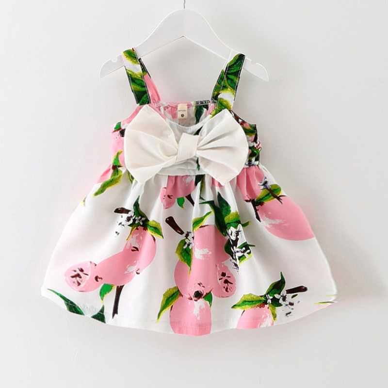 2016 New Baby Dress Infant girl dresses Lemon Print Baby Girls Clothes Slip Dress Princess Birthday Dress for Baby Girl(China (Mainland))
