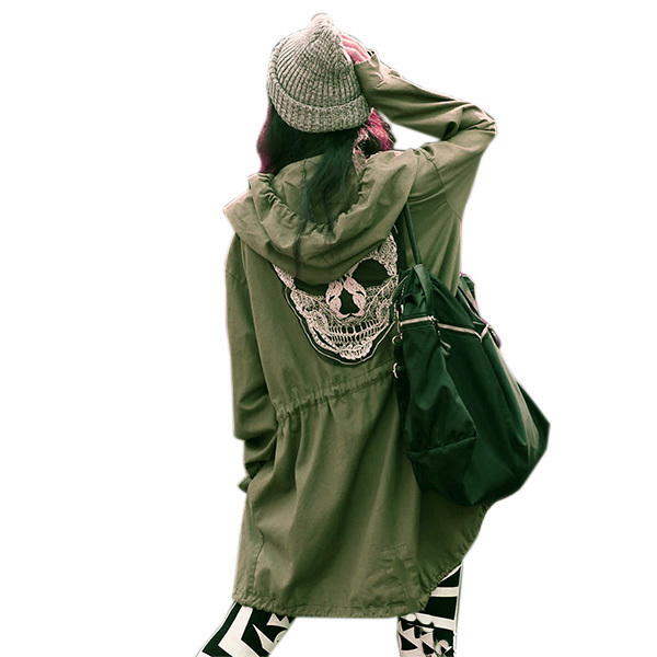 2015 New Women Trendy Casual Military Army Punk Skull Back Hooded Jacket Coat Overcoat Free shippingОдежда и ак�е��уары<br><br><br>Aliexpress