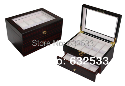 Wholesale 20 Grid Ebony Wooden Watches box for high end watch case for 2014 hot sale(China (Mainland))