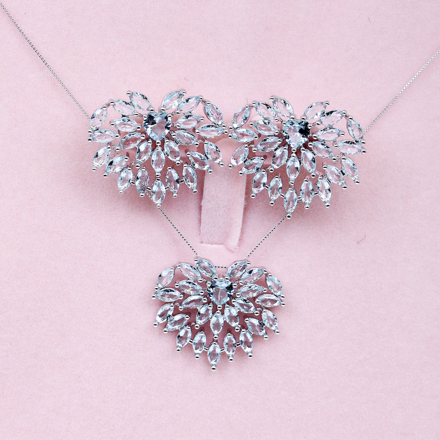 Fashion Heart Shape Light Blue Crystal Jewelry Sets white Gold Plated earring And Necklaces Pendante Jewellery For Women(China (Mainland))