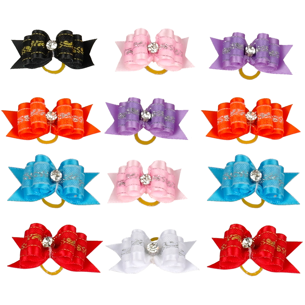 100pcs Colorful Ribbon Pet Puppy Cat Hair Bows With A Diamond