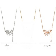 Fashion Women Necklace 925 Sterling Silver Leaves Necklaces & Pendants  Rhinestone Necklace Trendy Jewelry(China (Mainland))