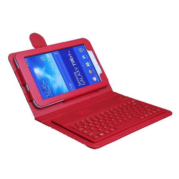 """For Samsung Galaxy Tab 3 Lite Keyboard Silicon Wireless Bluetooth Keyboard T110 T111 7"""" Tablet keyboard Leather Stand Case Cover(Hong Kong)"""